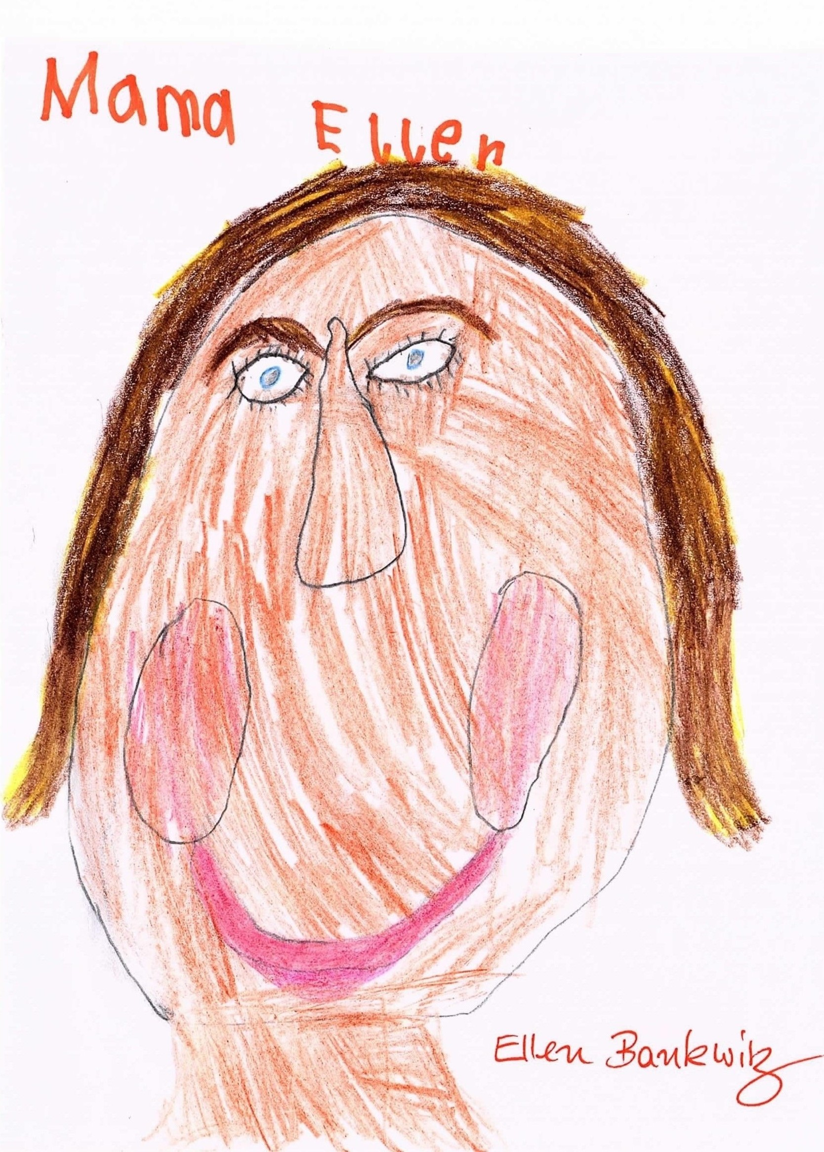 Kinderzeichnung von Gesicht mit Zöpfen statt Foto
